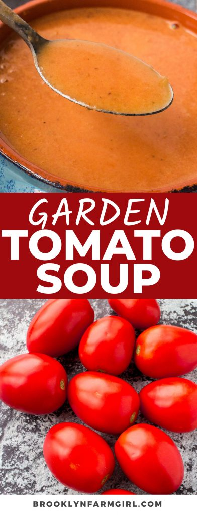 This easy homemade Roma Tomato Soup is made with garden fresh tomatoes, vegetable broth, and heavy cream. It's so creamy and fresh, you'll never want to buy canned soup again!