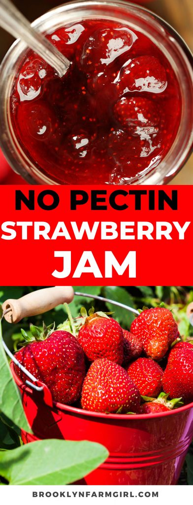 Strawberry Jam recipe that doesn't require pectin.  This easy jam is soft and spreads smooth on toast.  Includes refrigerator, canning and freezer instructions.