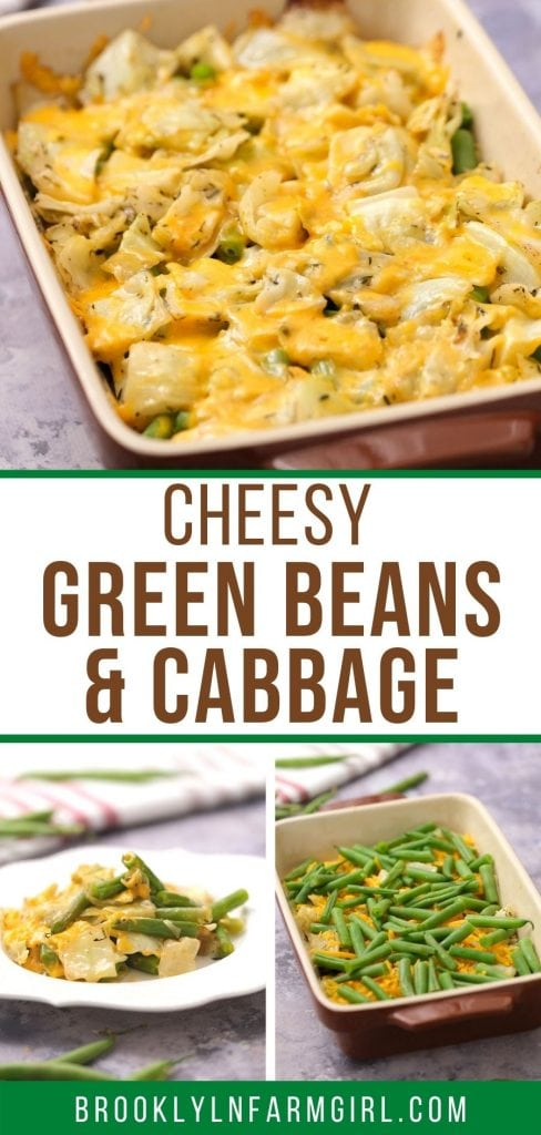 Cheesy Green Beans and Cabbage Casserole is an easy recipe that can be served as a main or side dish.  Fresh green beans and cabbage are baked with shredded cheese on top!