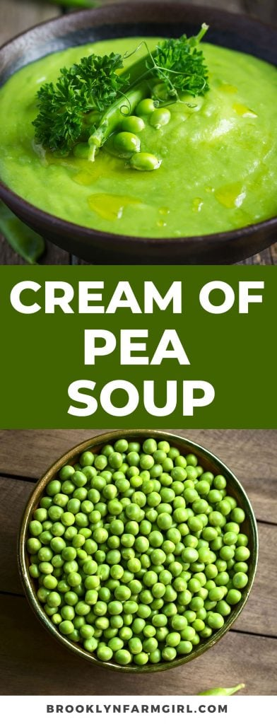Velvety smooth cream of pea soup recipe using fresh or frozen peas.  This beautiful green soup is creamy, healthy and easy to make on the stove top!