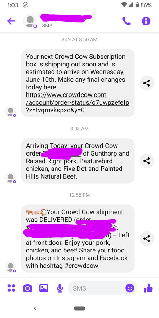 text messages about crowd cow delivery