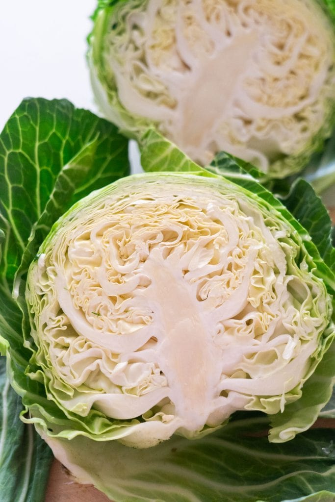 head of cabbage sliced open down the middle