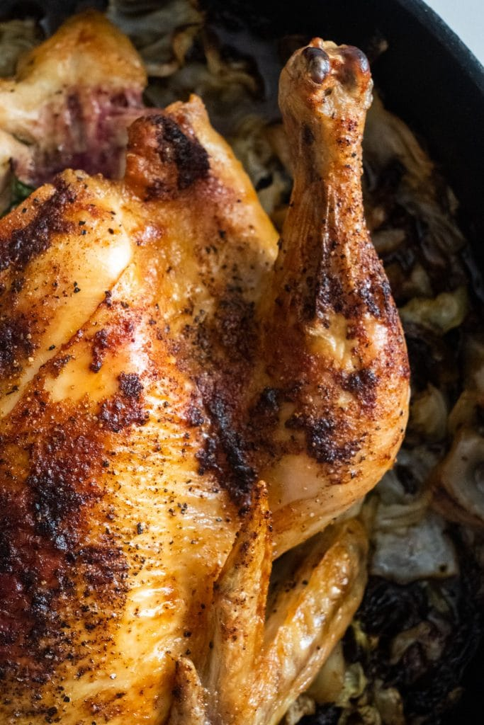 roasted chicken drumstick in cast iron skillet