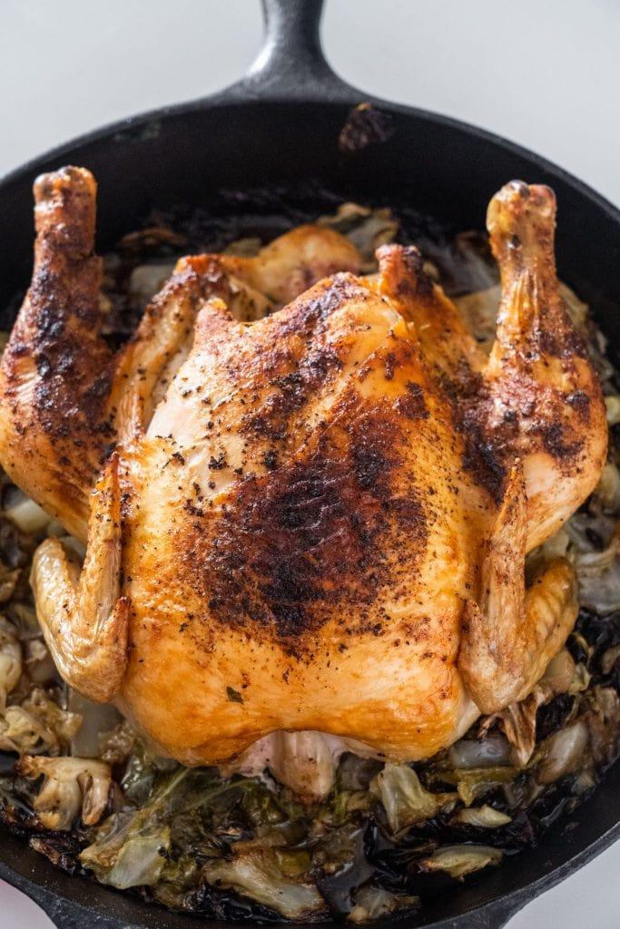 chicken in cast iron skillet