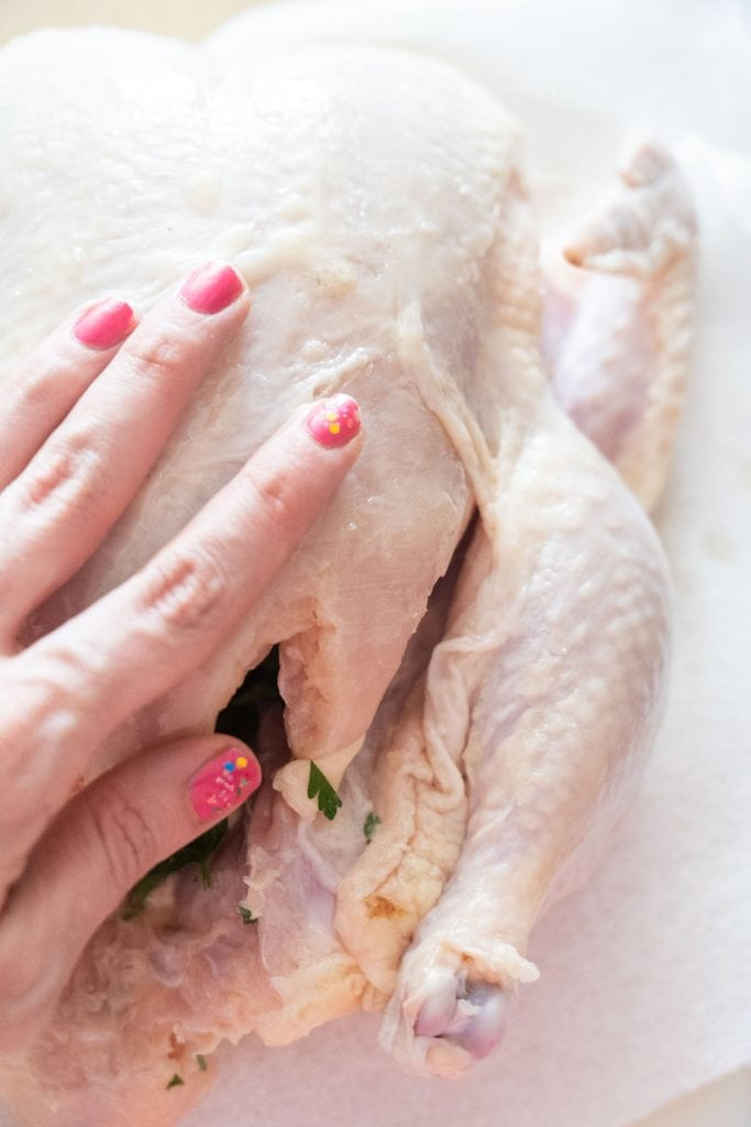 pink fingernails on hand rubbing butter all over whole chicken