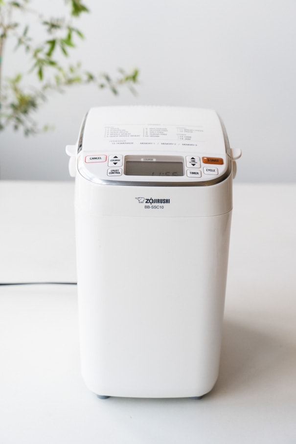Zojirushi bread machine on white table