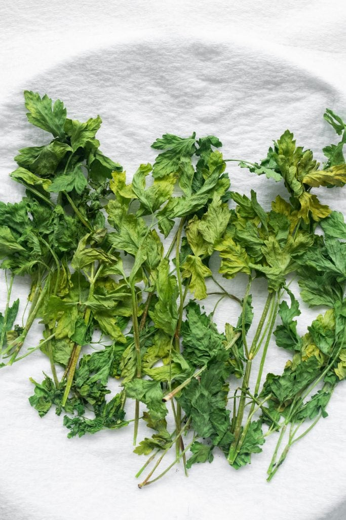 dried parsley from the microwave on paper towel on plate