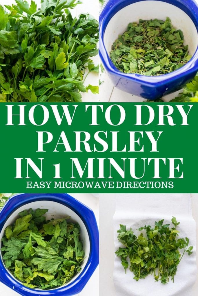 Step by step instructions on how to dry parsley leaves in the microwave in 1 minute.   This easy method is perfect for drying herbs quickly!