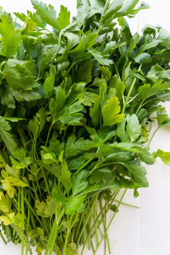 fresh parsley leaves on white background