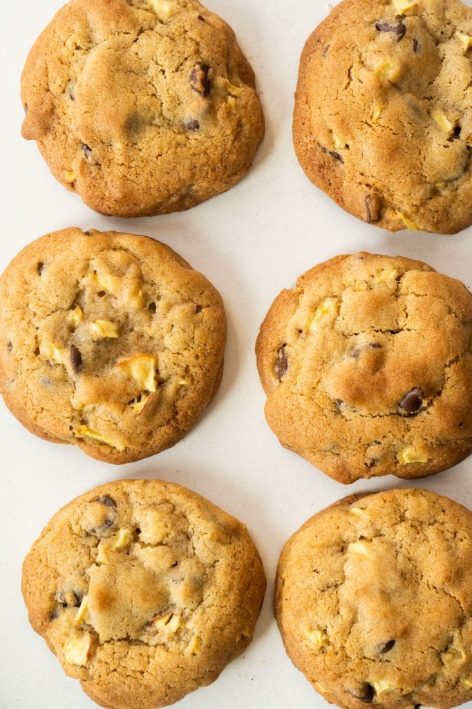 baked cookies on white background