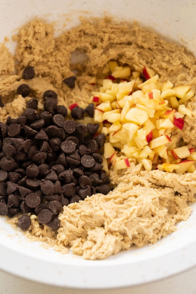 diced apple and chocolate chips in bowl