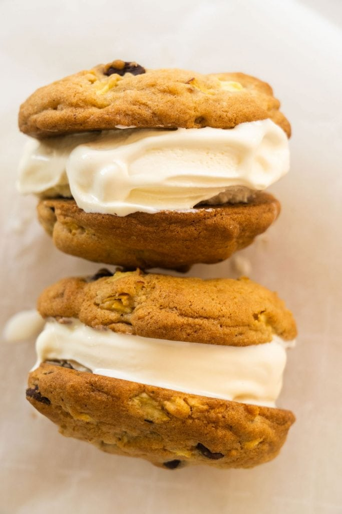 Easy to make, 1 dozen Apple Pie Cookies recipe.   These chunky chewy cookies are perfect for dessert and breakfast.  Also includes instructions on how to use for homemade ice cream sandwiches!