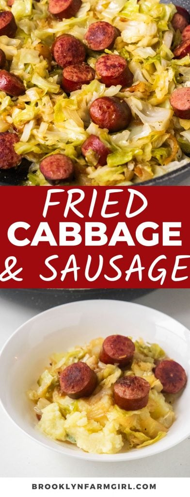 Easy Fried Cabbage with Sausage skillet meal, ready in 30 minutes for dinner.  Kielbasa sausage is cooked with onions and cabbage to make a simple delicious recipe!