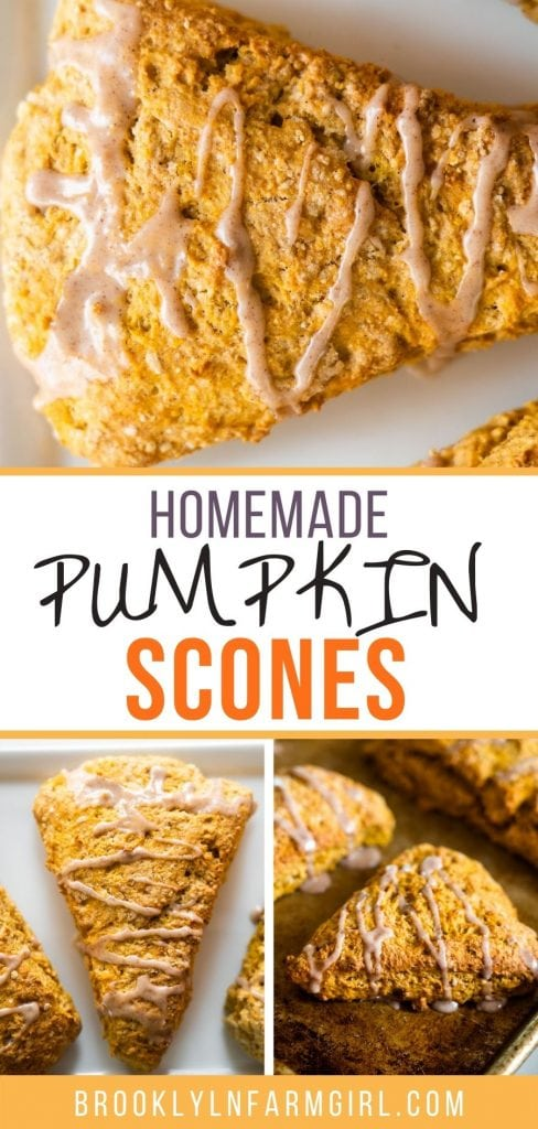 Homemade Pumpkin Scones with sweet vanilla cinnamon icing on top. This recipe makes moist, delicious scones!  These taste exactly like Starbucks, and they're so easy to make at home!