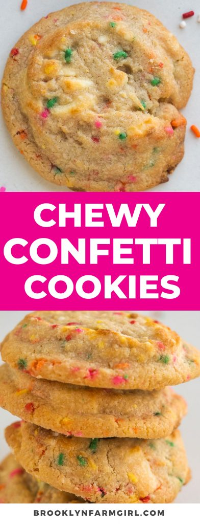 These Chewy Confetti Cookies taste just like Birthday Cake!  This cake mix box recipe makes fudgy cookies with baked in white chocolate chips and extra sprinkles!  Enjoy these sprinkle cookies that every family loves!