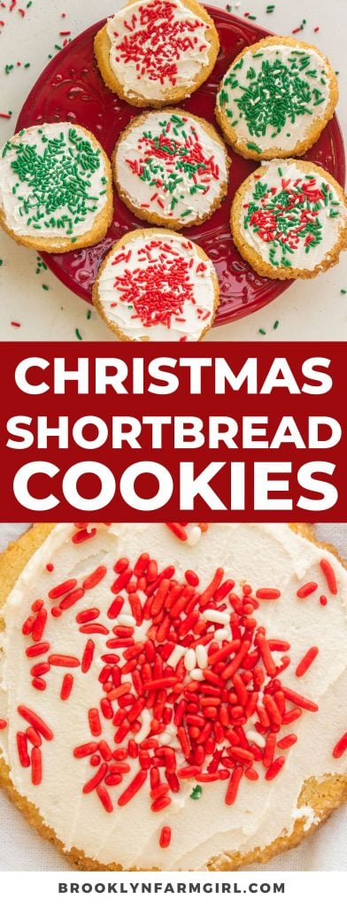 Classic Christmas Shortbread Cookies made with 4 ingredients.  These cookies are soft and will melt right in your mouth!  Decorate with icing and holiday sprinkles on top!