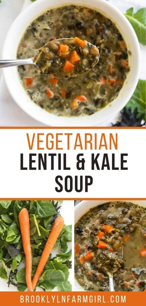 Vegetarian Lentil Kale Soup that's easy to make on the stove top and ready in 45 minutes.  This healthy vegan soup is packed with vegetables and you'll feel good feeding it to your family.