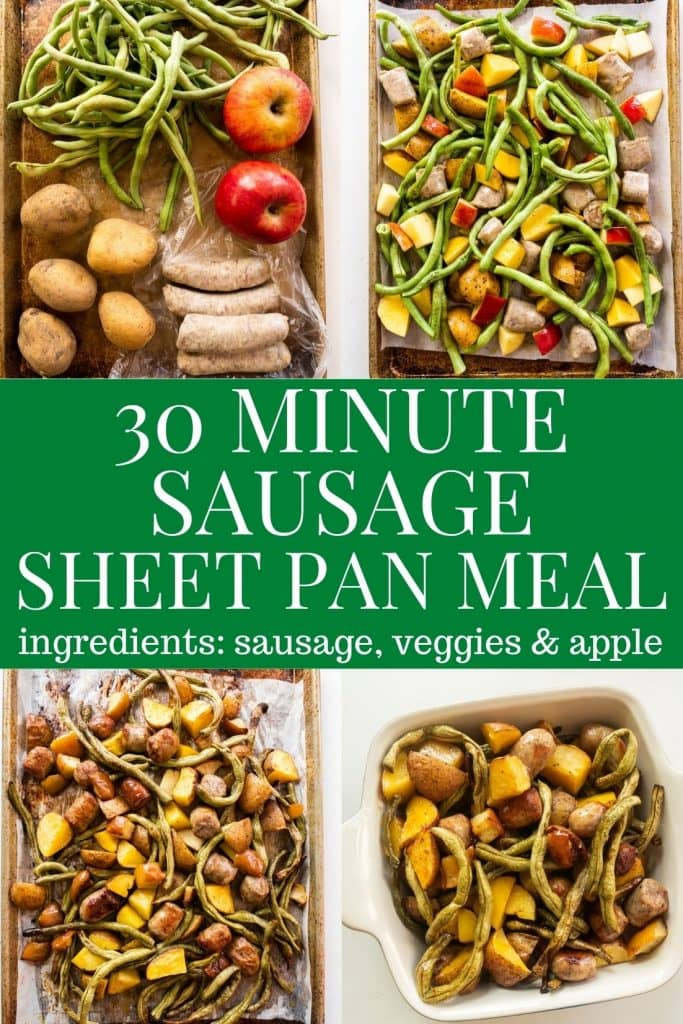 Easy Sausage, Green Beans, Potatoes and Apple Sheet Pan Meal, ready in 30 minutes.  Throw everything on one pan, cook it and a healthy dinner is ready!