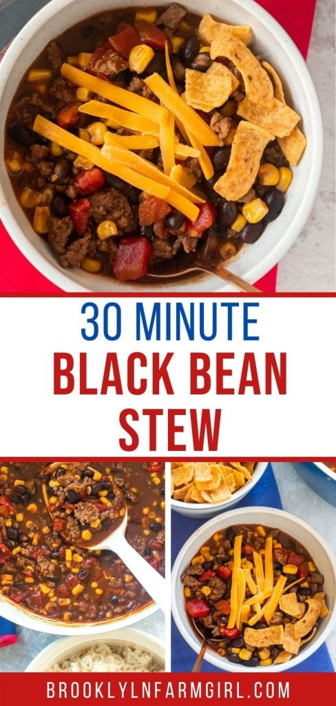 Easy to make Black Bean Stew ready in 30 minutes.  Ground beef is combined with black beans, diced tomatoes and corn to make a simple one pot meal.