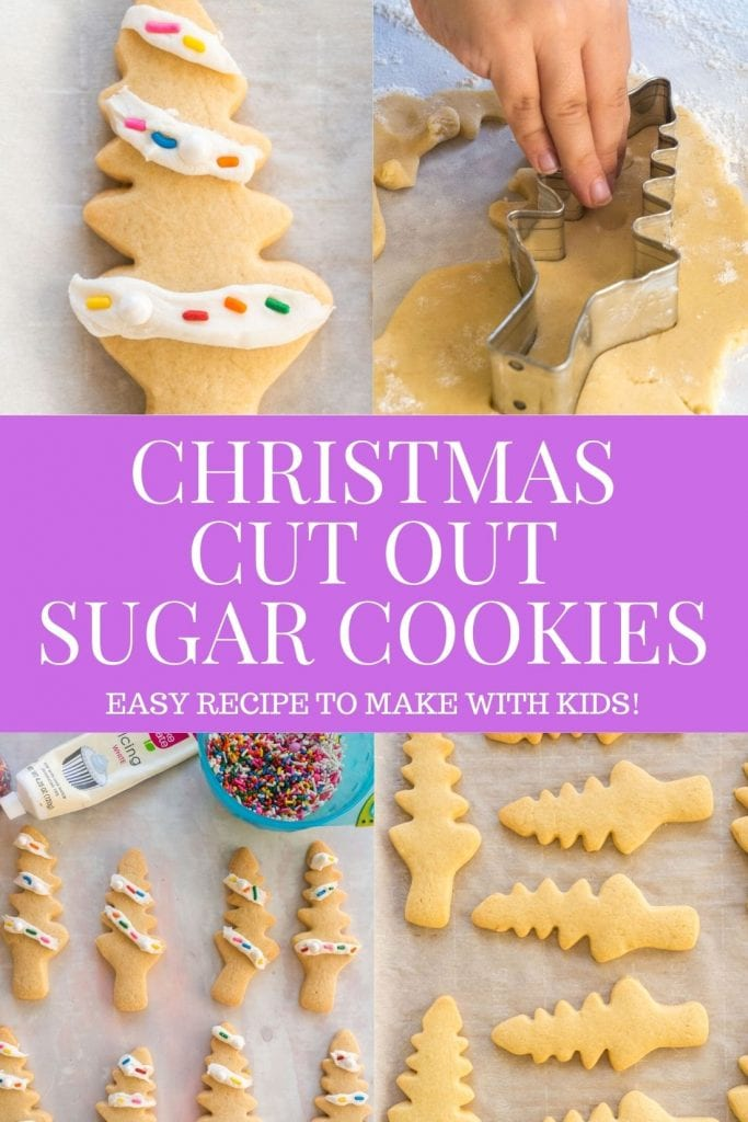 Easy to make Christmas Cut Out Sugar Cookies that you can make with kids!  Decorate these soft cookies with frosting and sprinkles on top!  I like using this recipe to make Christmas Tree Sugar Cookies!