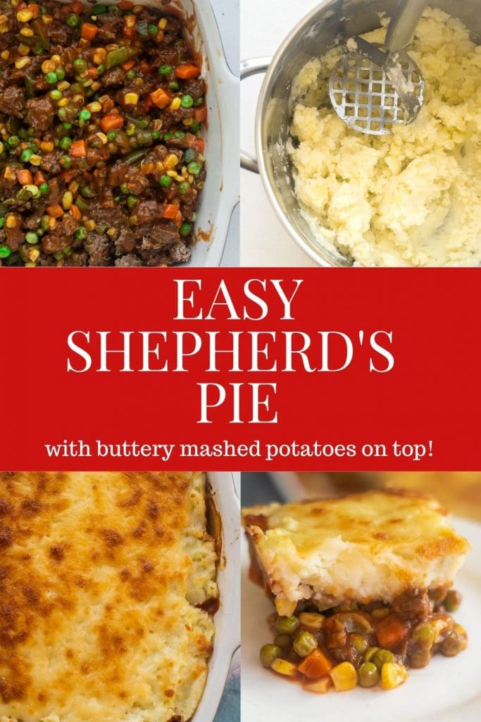Easy Shepherd's Pie recipe made with ground beef and frozen vegetables with buttery cheesy mashed potatoes on top.  This simple casserole dinner is ready in 1 hour from start to finish.