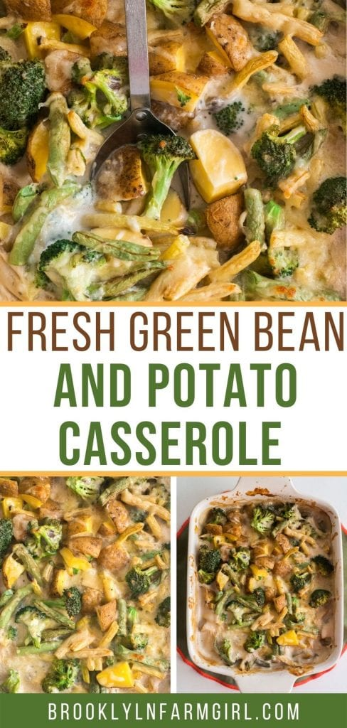 Green Bean and Potato Casserole recipe using fresh vegetables.  This homemade creamy side dish is easy to make and always the first gone at the dinner table.