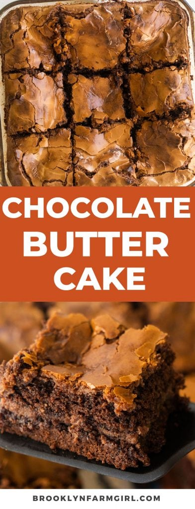 pinterest graphic image for chocolate butter cake recipe