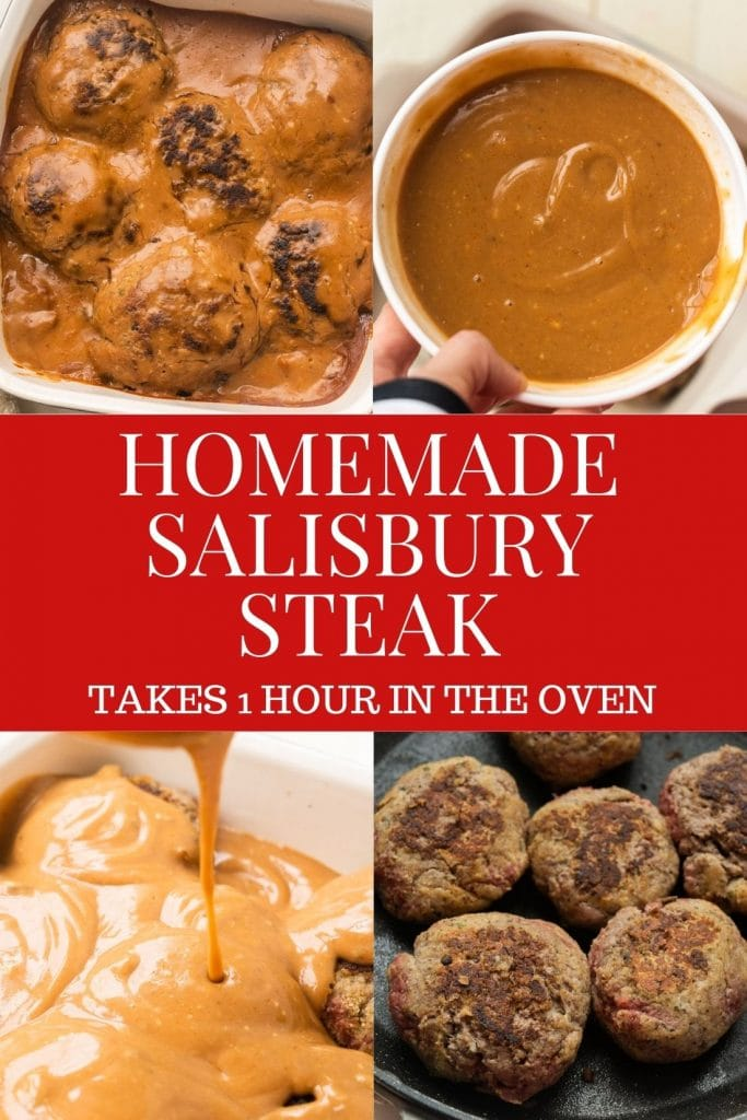 Homemade Salisbury Steak recipe with a tangy ketchup mushroom gravy.   This easy classic meal is baked in the oven for 1 hour and is amazingly delicious!