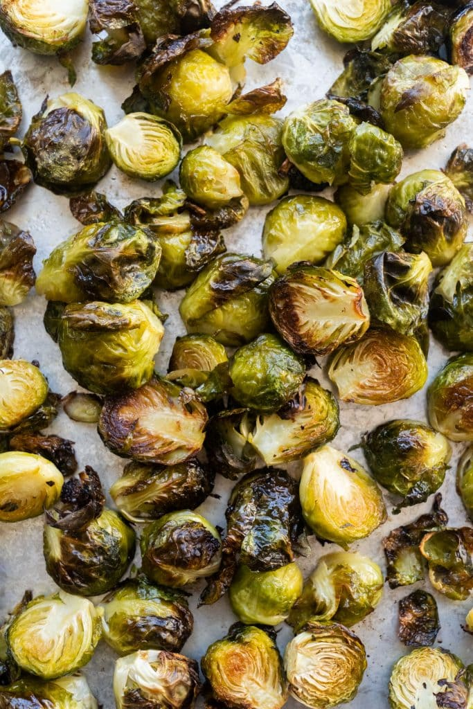 brussels sprouts roasted on baking sheet