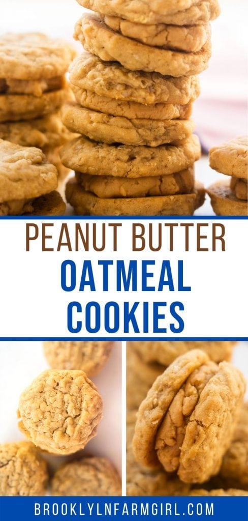 Easy to make Peanut Butter Sandwich Cookies that tastes just like Girl Scout Cookies!  These chewy oatmeal peanut butter cookies with peanut butter buttercream between them are the best!