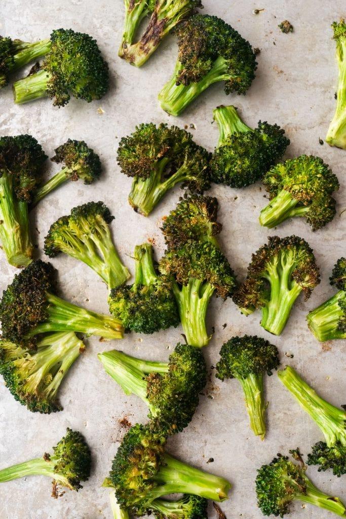 roasted broccoli florets directly on baking sheet