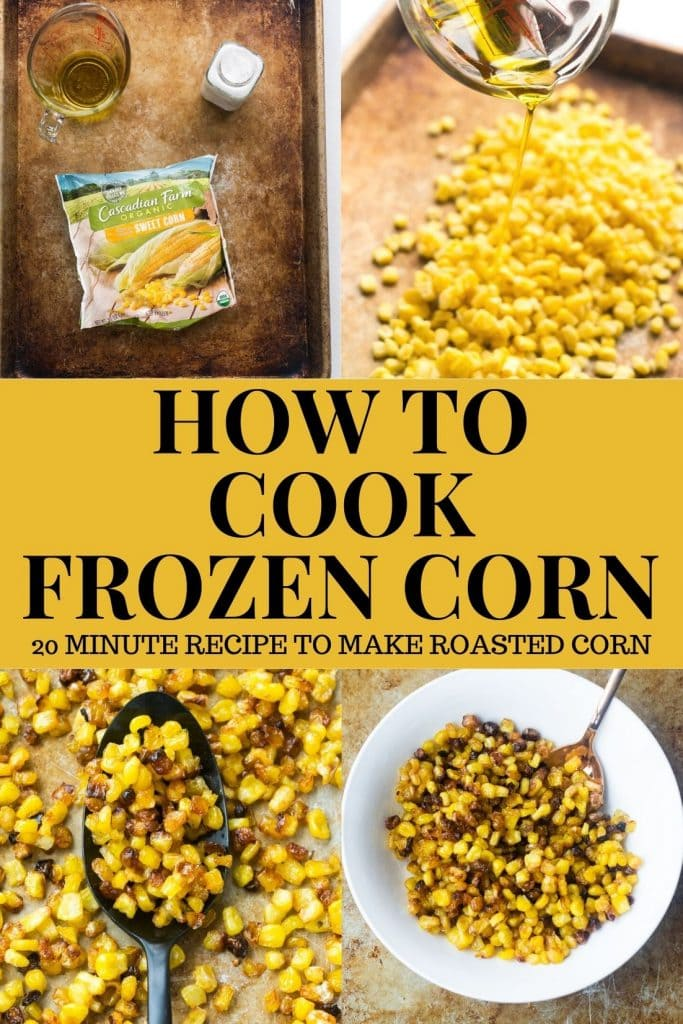 Easy step-by-step instructions on how to cook frozen corn in the oven.  The result is delicious crispy corn ready in 20 minutes.