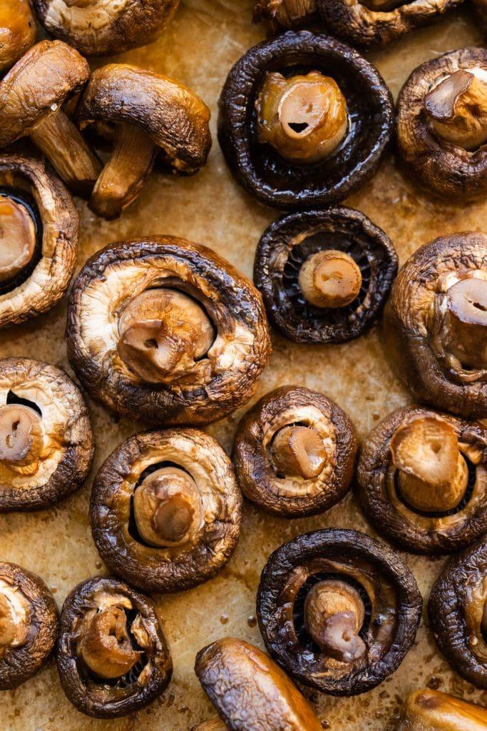 roasted mushrooms on baking sheet