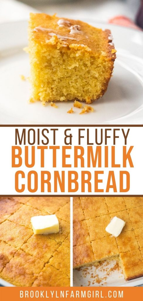 Delicious Moist Buttermilk Cornbread that is so soft and fluffy!  This homemade cornbread is the best for dipping in chili and serving with BBQ!