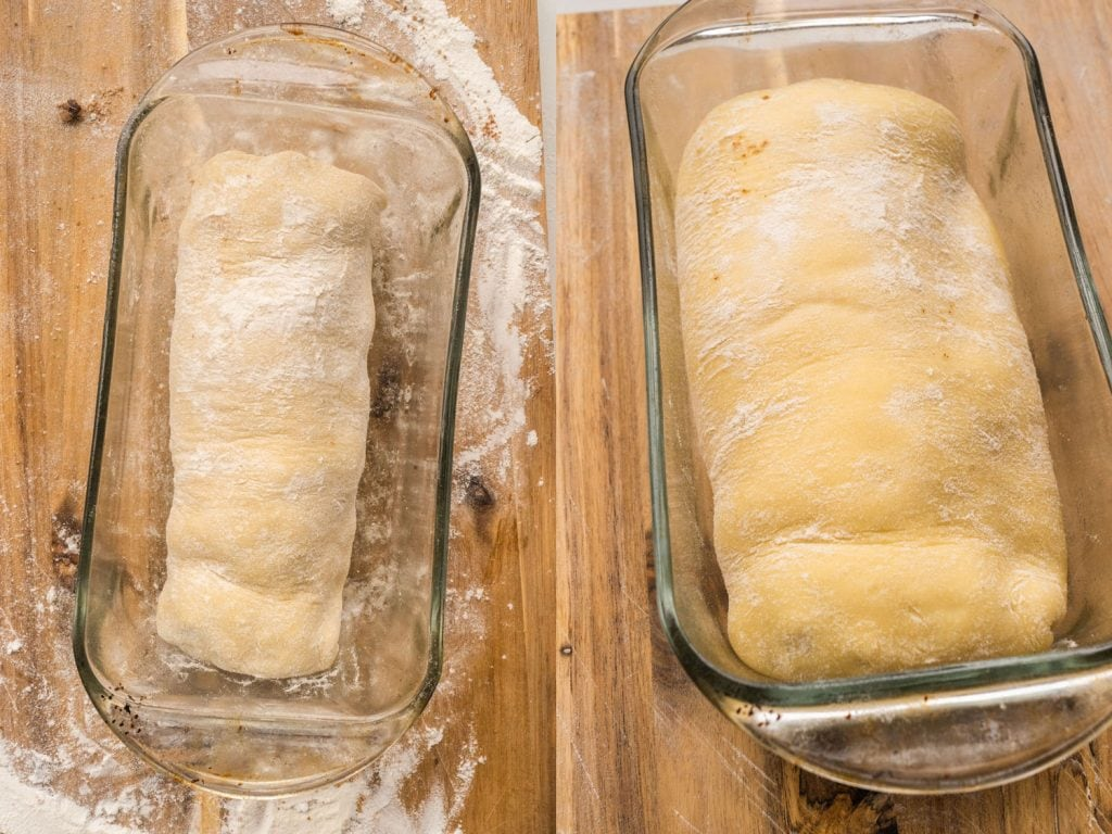 dough rising in baking pan after 1 hour
