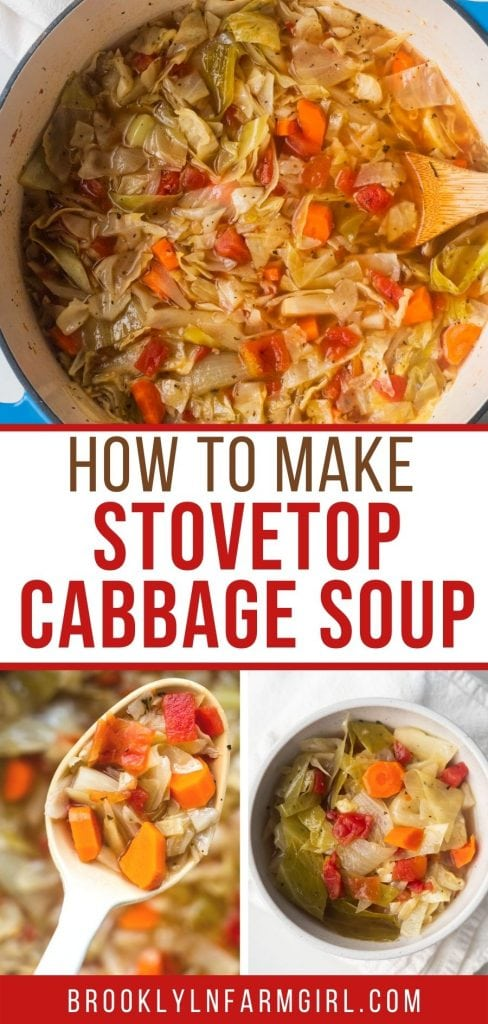 Easy Cabbage Soup made on the stovetop in 1 hour.  This healthy soup is packed with cabbage, carrots, diced tomatoes, onions, chicken broth and spices! It's only 134 calories per serving!