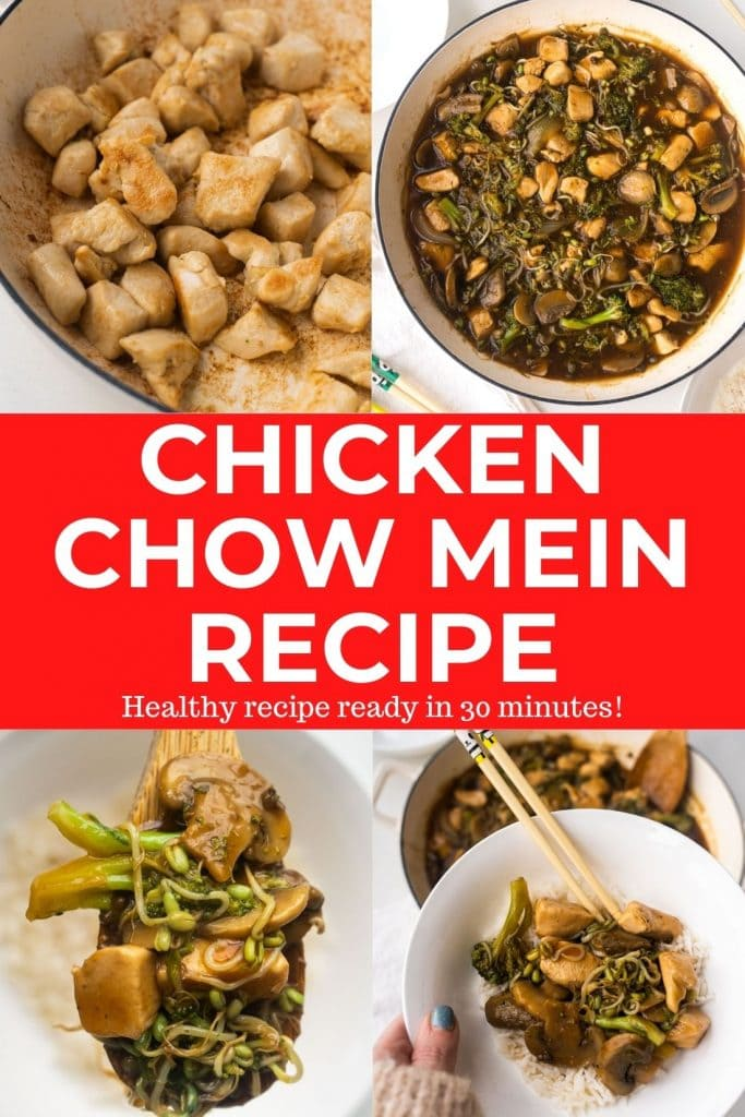 A easy to make Chicken Chow Mein recipe that is better than Chinese takeout.  This healthy 30 minute dish is made with chicken, vegetables, bean sprouts and soy sauce.  Tastes just like La Choy Chicken Chow Mein that you ate as a kid!