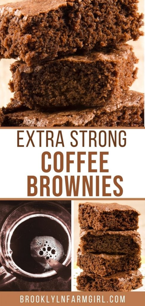 Need some caffeine?  Make these extra strong coffee brownies!  This is an easy recipe using strong coffee to make fudgy chocolate brownies.