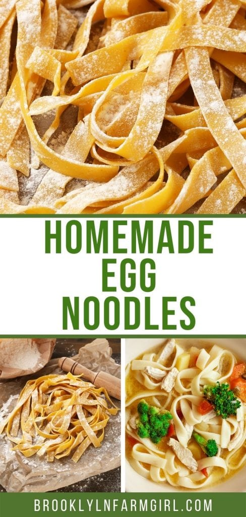 Easy to make homemade egg noodles to serve in soup.  Made from scratch with egg, salt, milk, flour and baking powder, costing about 50 cents.