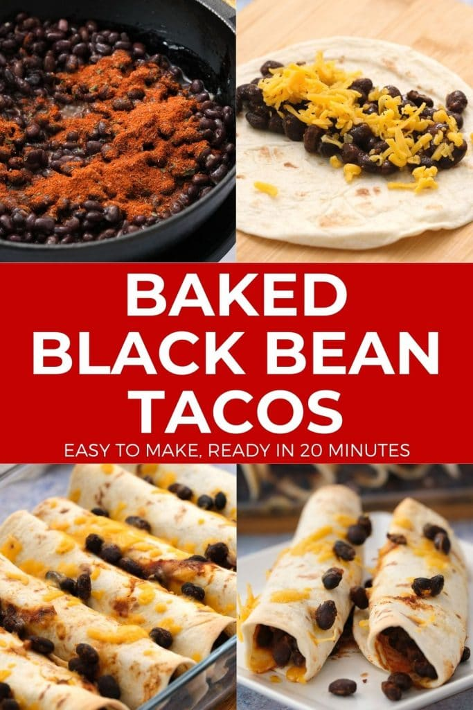 Healthy Baked Black Bean Tacos take 20 minutes from start to finish.  Canned black beans and shredded cheese are rolled up in flour tortillas and baked in the oven.  This is one of my family's favorite easy weeknight vegetarian meals.