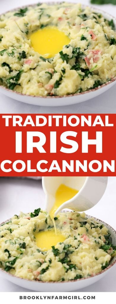 Traditional Colcannon recipe, AKA Irish Mashed Potatoes!  These are easy to make with kale or cabbage, and ready in 25 minutes.
