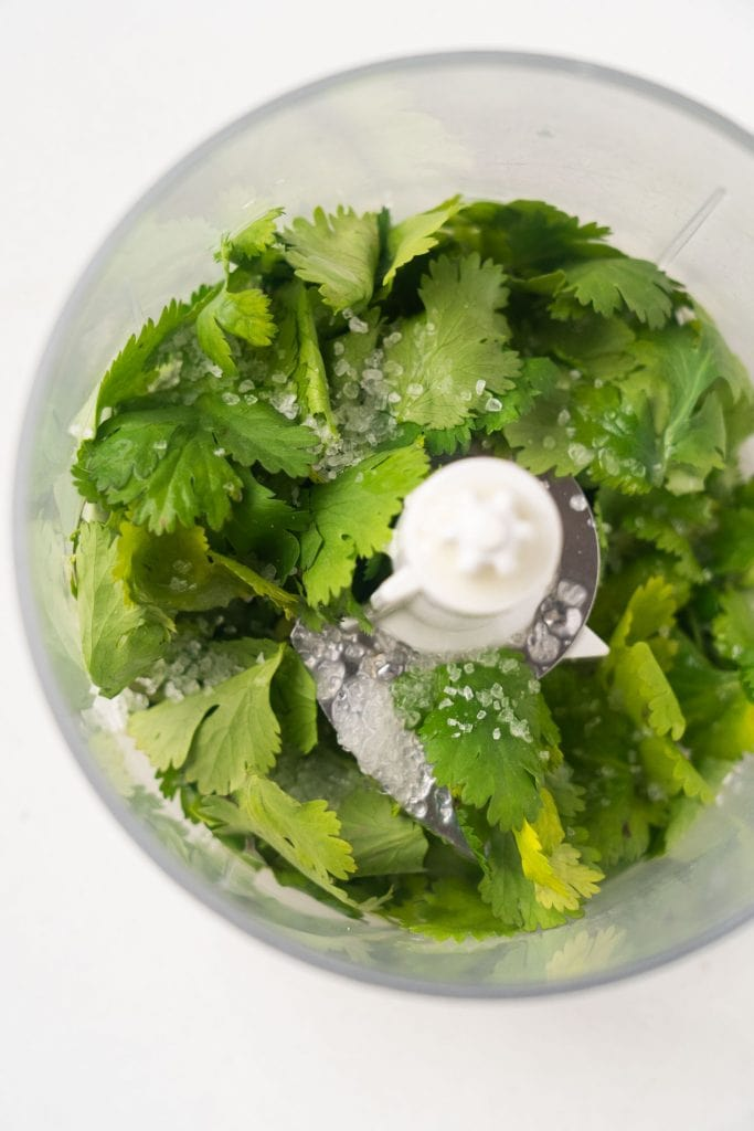 cilantro, lime and salt in small food processor.