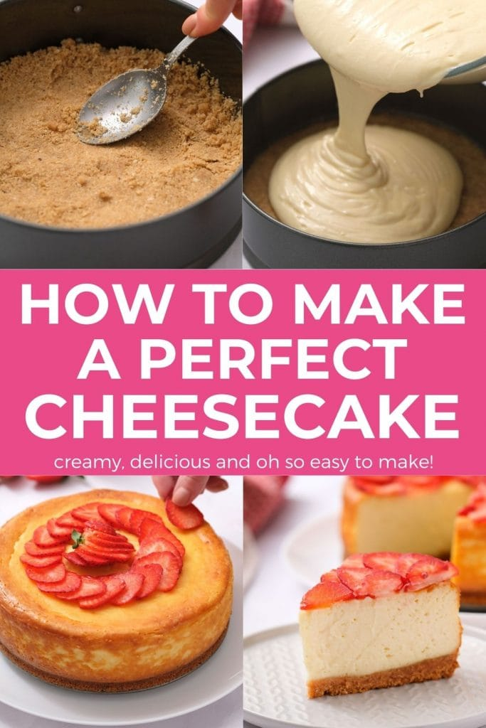 Easy, authentic New York Cheesecake recipe that provides the secret to avoid it from cracking!    Creamy, delicious and everything else that you dream a cheesecake should taste like!