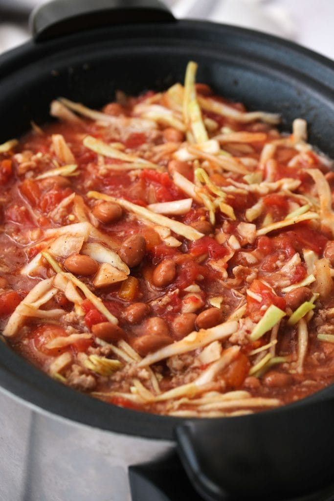 cabbage beef soup cooked in a slow cooker