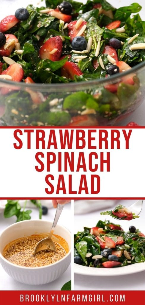 Best ever Strawberry Spinach Salad recipe made with a sesame seed balsamic vinegar dressing.  Healthy, so easy to make and kind of romantic with those berries!