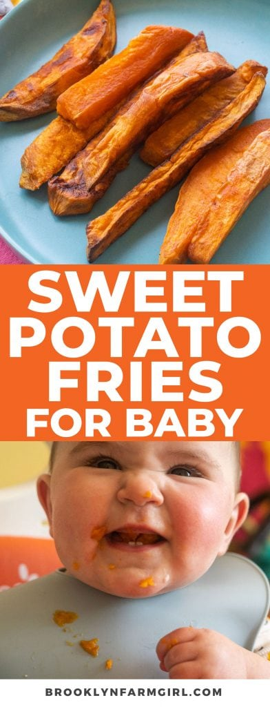 Easy to make, healthy sweet potato fries for baby wed leaning. These are perfect for babies starting at 6 and 7 months old!