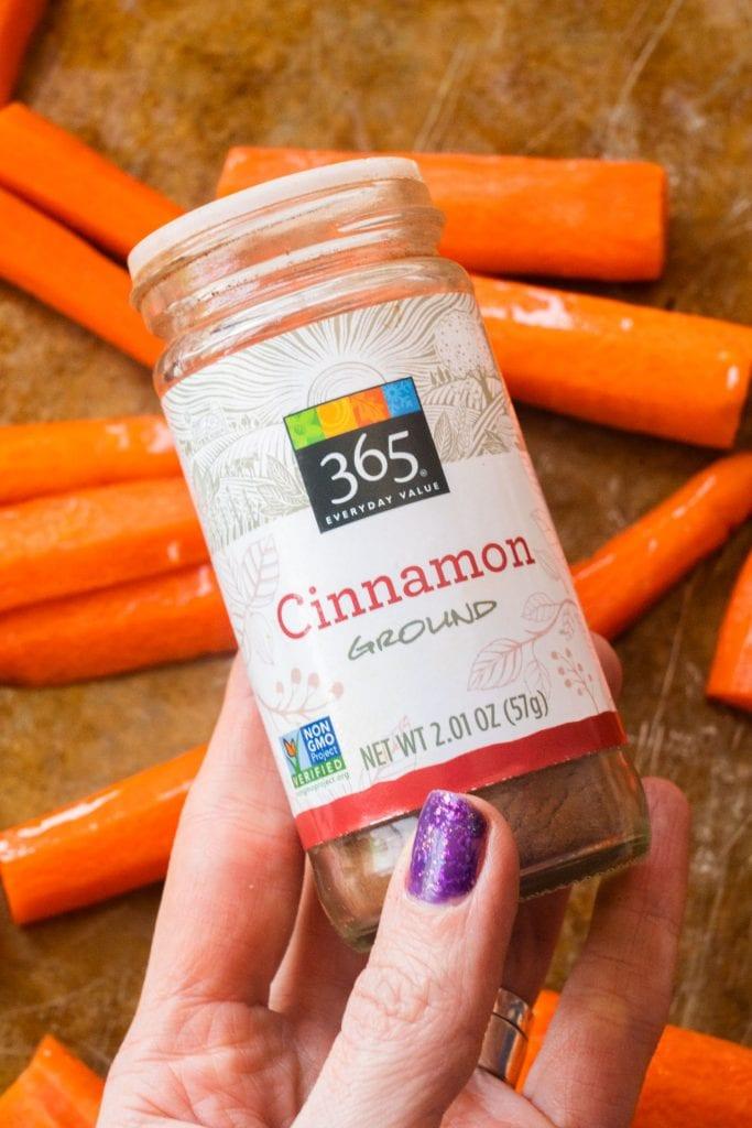 glass jar of ground cinnamon.