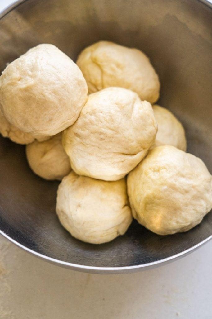 dough balls in bowl.