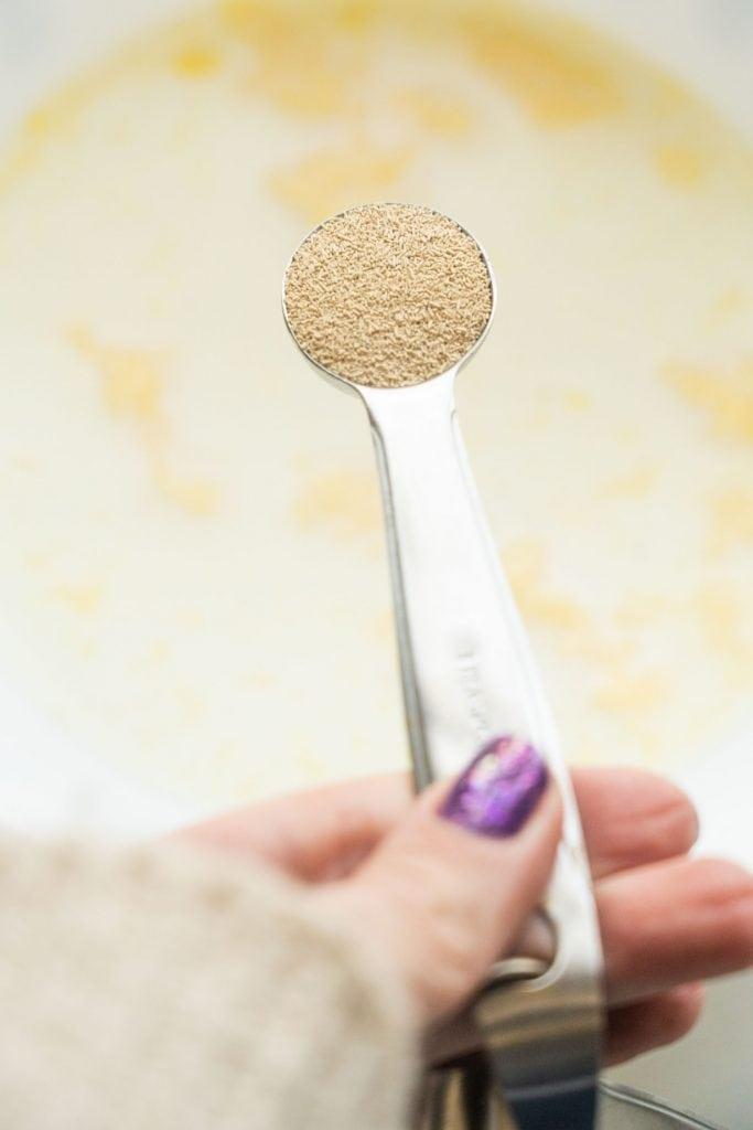 yeast in measuring spoon.