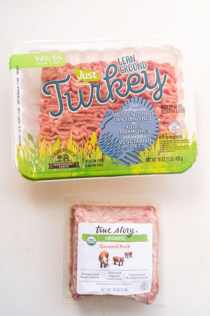 ground turkey and ground pork